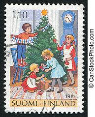 porto 1986 briefmarke finnland elfen weihnachten. Black Bedroom Furniture Sets. Home Design Ideas