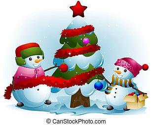 Schneemann dekorieren baum weihnachten schneemann stock illustration suchen sie nach - Baum dekorieren ...