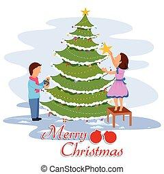 Dekorieren kinder baum weihnachten fr hlich kinder vektoren illustration suche - Baum dekorieren ...
