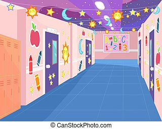 dekoriert, abbildung, korridor, schule
