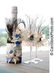 dekoriert, wedding, champagner