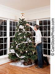 dekoriert, weihnachtsbaum, in, daheim