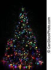 dekoriert, weihnachtsbaum, lit, mit, bunte, lichter, nacht