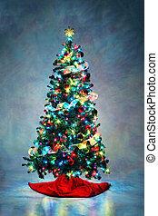 dekoriert, weihnachtsbaum