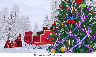 dekoriert, weihnachtsbaum, und, nikolausschlitten, 4k