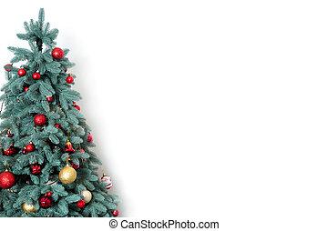 dekoriert, weihnachtsbaum, weiß, hintergrund, mit, frei, raum, für, text.