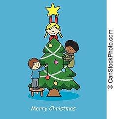dekorowanie, drzewo, dzieci, boże narodzenie