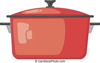 deksel, kleur, pot, witte , utensils., spotprent, achtergrond., vector, pots., keuken, beeld, rood, liggen