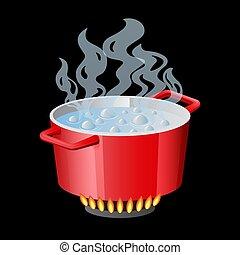deksel, ovenschotel, pan, geopend, stewpan, cooker, vrijstaand, water, koken, vector, rood wit, pot, pan, pan