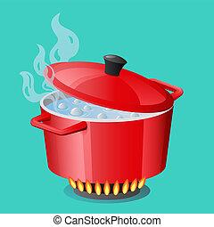 deksel, ovenschotel, pan, stewpan, cooker, het koken, vrijstaand, water, koken, vector, rood, gesloten, pan, pot, pan, pictogram