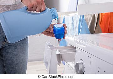 deksel, persoon, gietend detergens