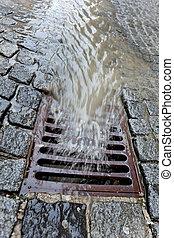 deksel, rainwater, vaart