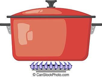 deksel, stove., gas, beeld, metaal, illustratie, fire., vector, rood, gesloten, keuken, spotprent, pan, liggen