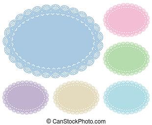 dekservet, pastels, placemats, kant