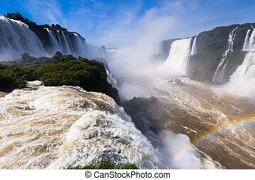del, 滝, ブラジル, cataratas, iguazu, 川