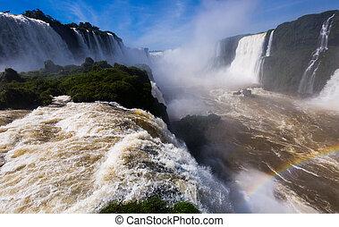 del, 滝, iguazu, 川, cataratas, ブラジル