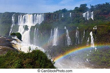 del, 虹, ブラジル, 滝, 上に, iguazu, cataratas
