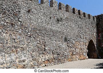 del av, a, stena väggen, med, grind