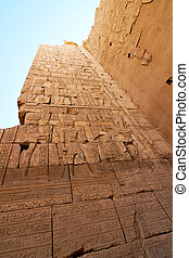 del av, a, vägg, med, hieroglyfer