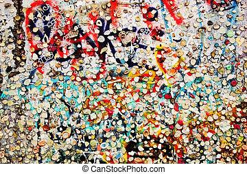 del av, berlin vägg, med, graffiti, och, tugga, tandkött