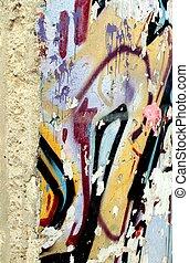del av, den, berlin vägg, och, specificera, av, graffiti