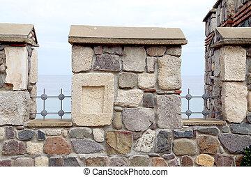 del av, hus, vägg, med, stones.