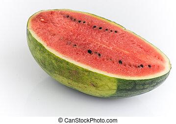 del, av, vattenmelon, med, isolerat, bakgrund
