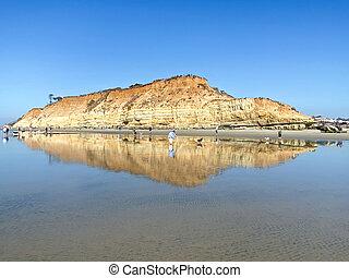 Del Mar North Beach, California coastal cliffs and House with Pacific ocean