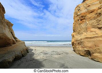 Del Mar Public Beach, CA - Colorful Cliffs at Ocean Beach,...
