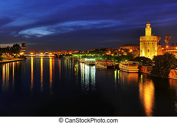 del, oro, nacht, torre, guadalquivir rivier, seville, spanje, aanzicht