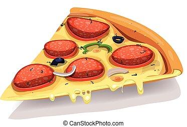 del, ostliknande, pepperoni pizza