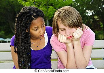 dela, adolescente, amigo, consolar