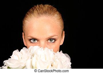 dela, buquet, rosto, noiva, coberto, nupcial