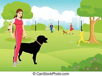 dela, cão, parque cidade, mulher