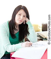 dela, cansadas, dormir, enquanto, atraente, estudante, dever casa