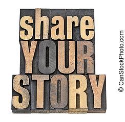 dela, din, berättelse, in, ved, typ
