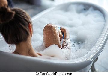 dela, esponja, femininas, banheira, pernas, massaging