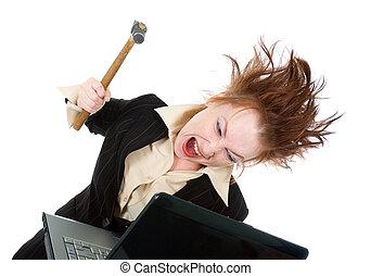 dela, executiva, laptop, esmagando, cansado, martelo