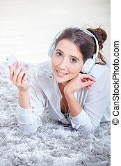 dela, fones, algum, jogador, através, música digital