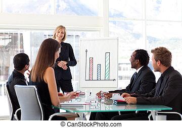dela, gerente, femininas, equipe, sorrindo, reunião