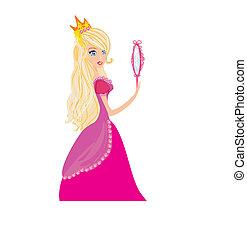 dela, mãos, jovem, cabelo, loura, espelho, princesa