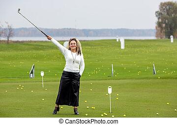 dela, mãos, menina, clube, cabelo, golfe, cute, cacheados