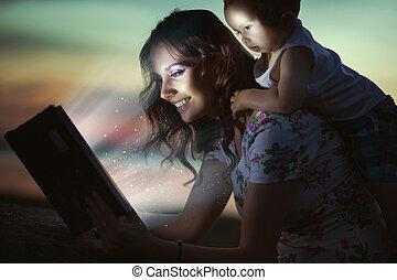 dela, mommy, espantoso, livro, criança, leitura