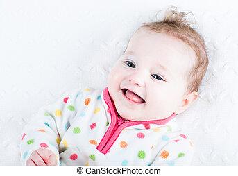 dela, mostrando, rir, bebê, língua, menina