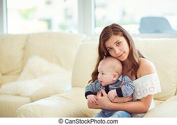 dela, recem nascido, adolescente, bonito, bebê, retrato, menina