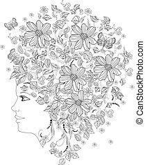 dela, retrato, b, menina, flores, coloração, moda, cabeça