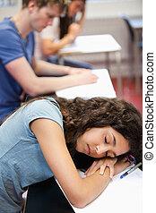 dela, retrato, escrivaninha, estudante, dormir