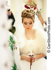dela, sobre, coroa, dama honra, noiva, enquanto, olha, casório, vela, ter