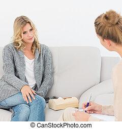 dela, terapeuta, escutar, loiro, mulher