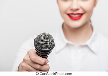 dela, tv, jornalista, bonito, relatório, fazer, menina